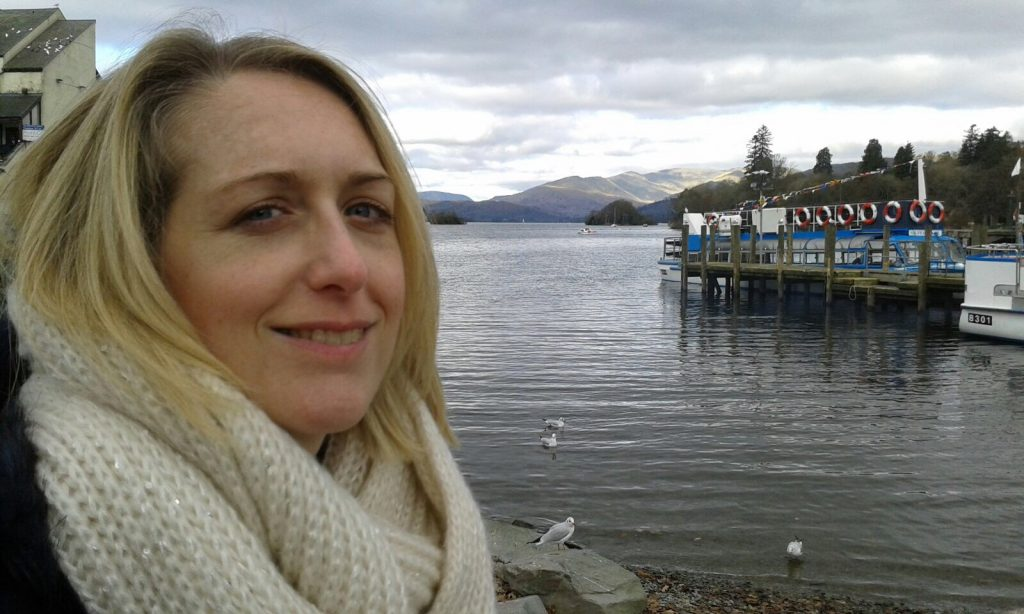 Writer Caroline Humes at Lake Windermere